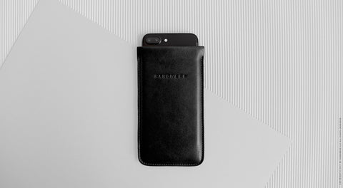 Leather iPhone/iPhone Plus/iPhone X Sleeve - Nile in Black