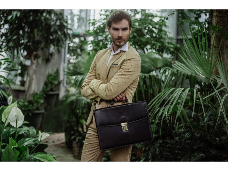 Black Leather Briefcase - The Sound of the Mountain for Men and Women by Time Resistance on Jetset Times SHOP