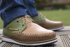 Men's Casual Leather Shoes - Puerto Vallarta in Green and Brown by Tapatía on Jetset Times SHOP