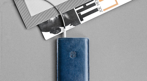 Leather iPhone/iPhone Plus Sleeve - Hike in Blue