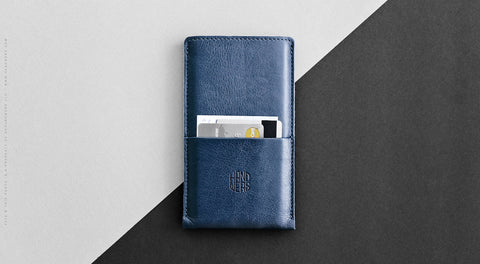Leather iPhone/iPhone Plus Sleeve w/ Pocket - Hike in Blue