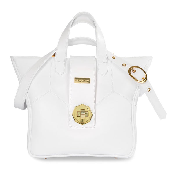 Women's White Leather Camera Bag - Kimberly