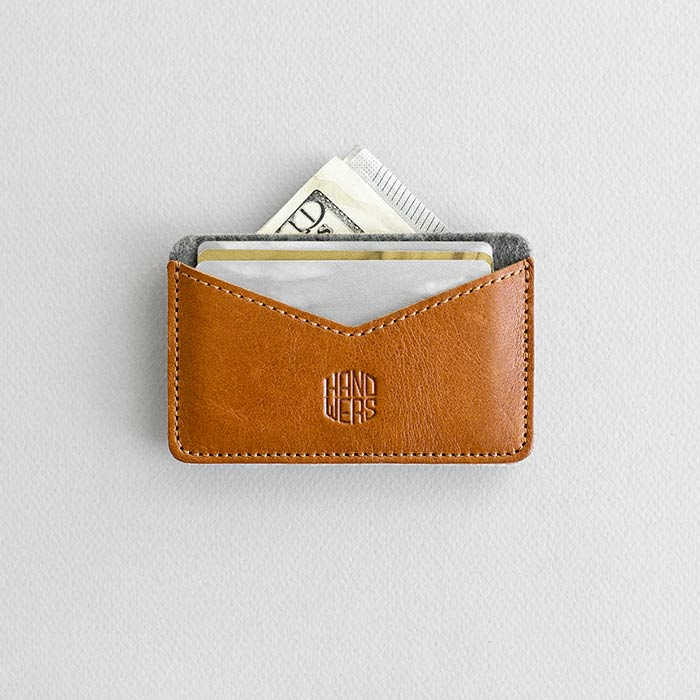 Leather Cardholder Wallet - Chaste in Brown with Dark Gray by HANDWERS on Jetset Times SHOP