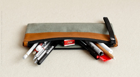 Leather Travel Pouch for Men & Women - Nomad in Brown w/ Gray  by HANDWERS on Jetset Times SHOP
