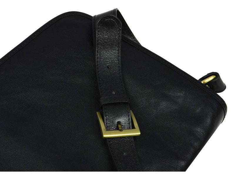 Black Leather Messenger Bag - The Stranger for Men and Women by Time Resistance on Jetset Times SHOP