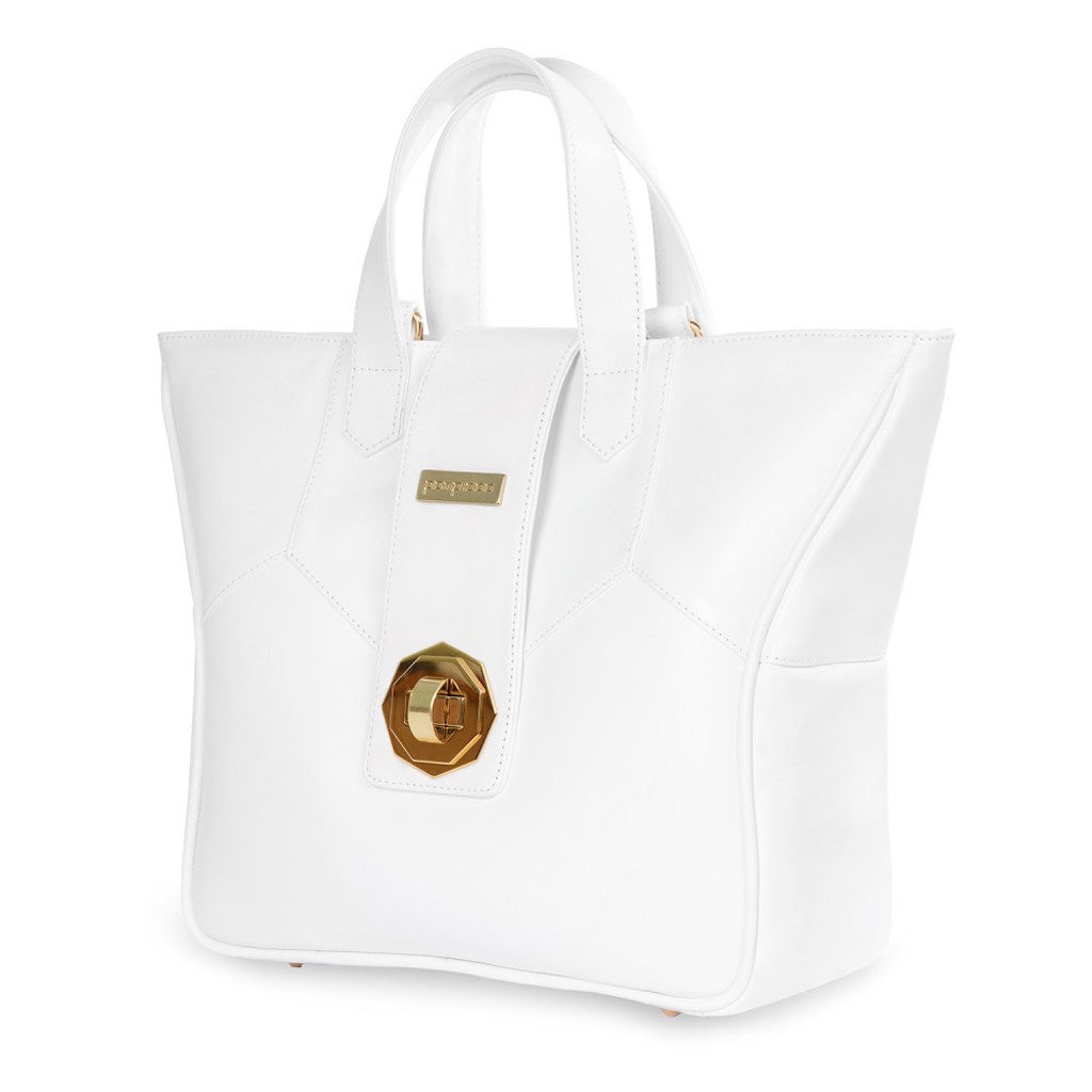 Women's White Leather Camera Bag - Kimberly by POMPIDOO on Jetset Times SHOP