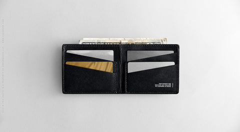 Men's Ultra Slim Wallet - Leaf in Black