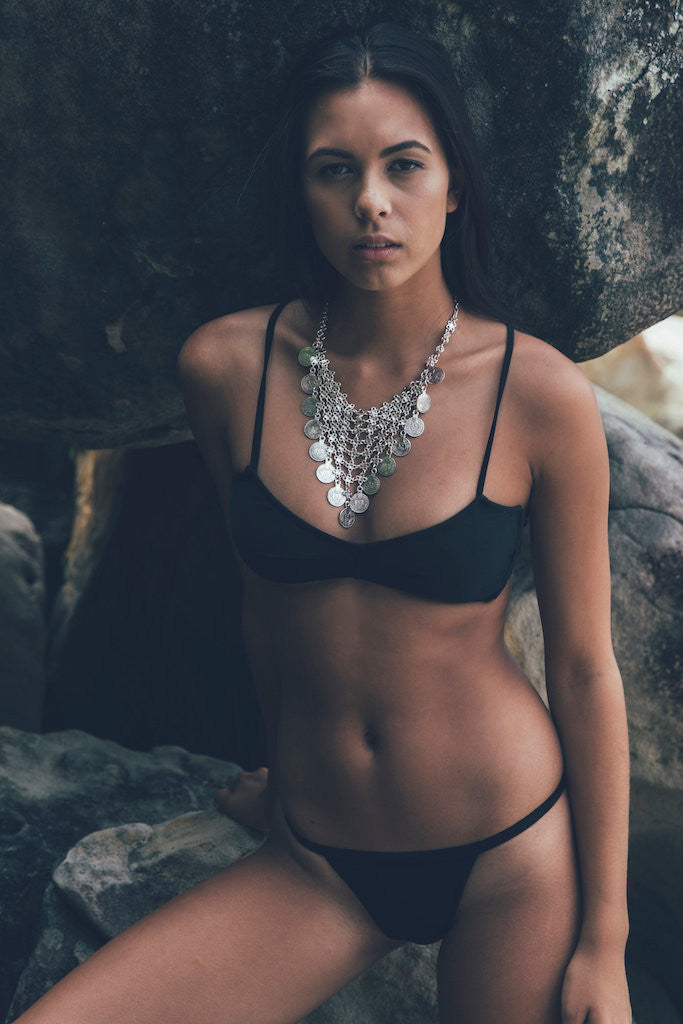 Women's Black Bikini Top - Mykonos by The Hessian Collection on Jetset Times SHOP