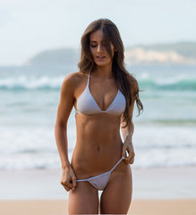 Women's Gray/White Bikini Top - Monte Carlo by The Hessian Collection on Jetset Times SHOP