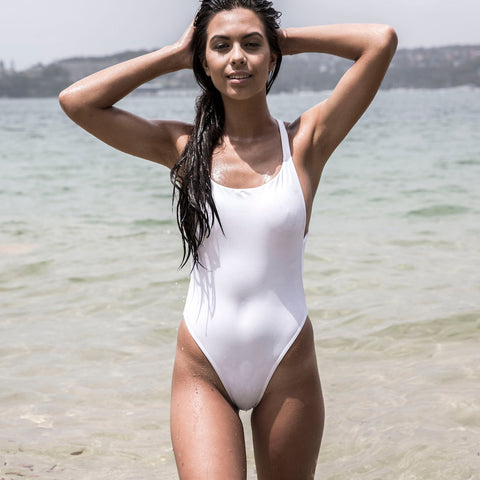 Women's White One Piece Swimsuit - Santorini