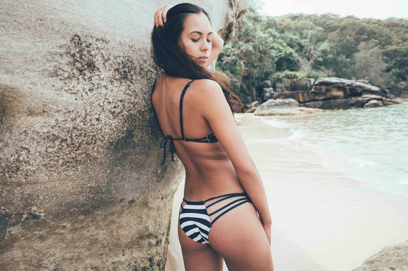 Women's Navy/White Bikini Bottom - Mykonos by The Hessian Collection on Jetset Times SHOP