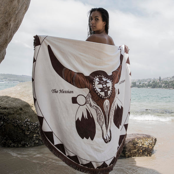 Brown Round Beach Towel - Mykonos by The Hessian Collection on Jetset Times SHOP