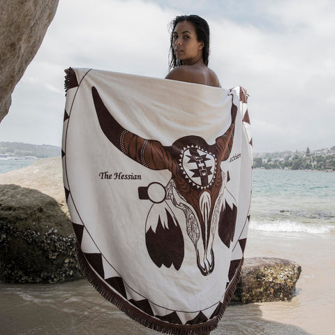 Brown Round Beach Towel - Mykonos