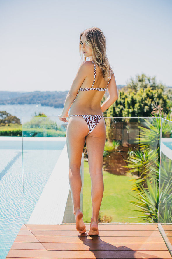 Women's String Bikini Bottom - Ibiza in Zebra Brown/White by The Hessian Collection on Jetset Times SHOP