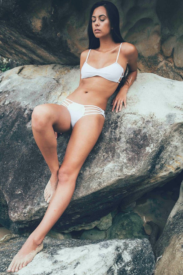 Women's White Bikini Bottom - Mykonos by The Hessian Collection on Jetset Times SHOP