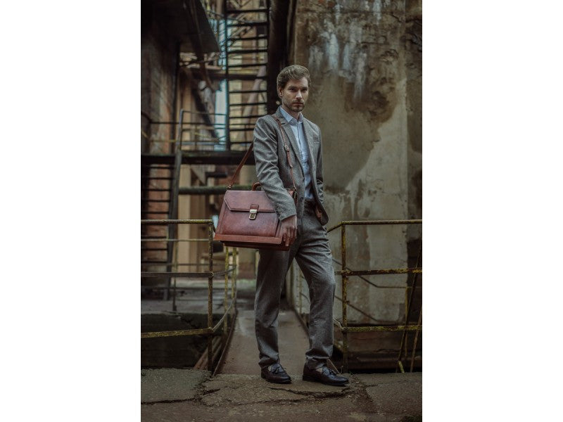 Brown Leather Briefcase - Invisible Man for Men and Women by Time Resistance on Jetset Times SHOP