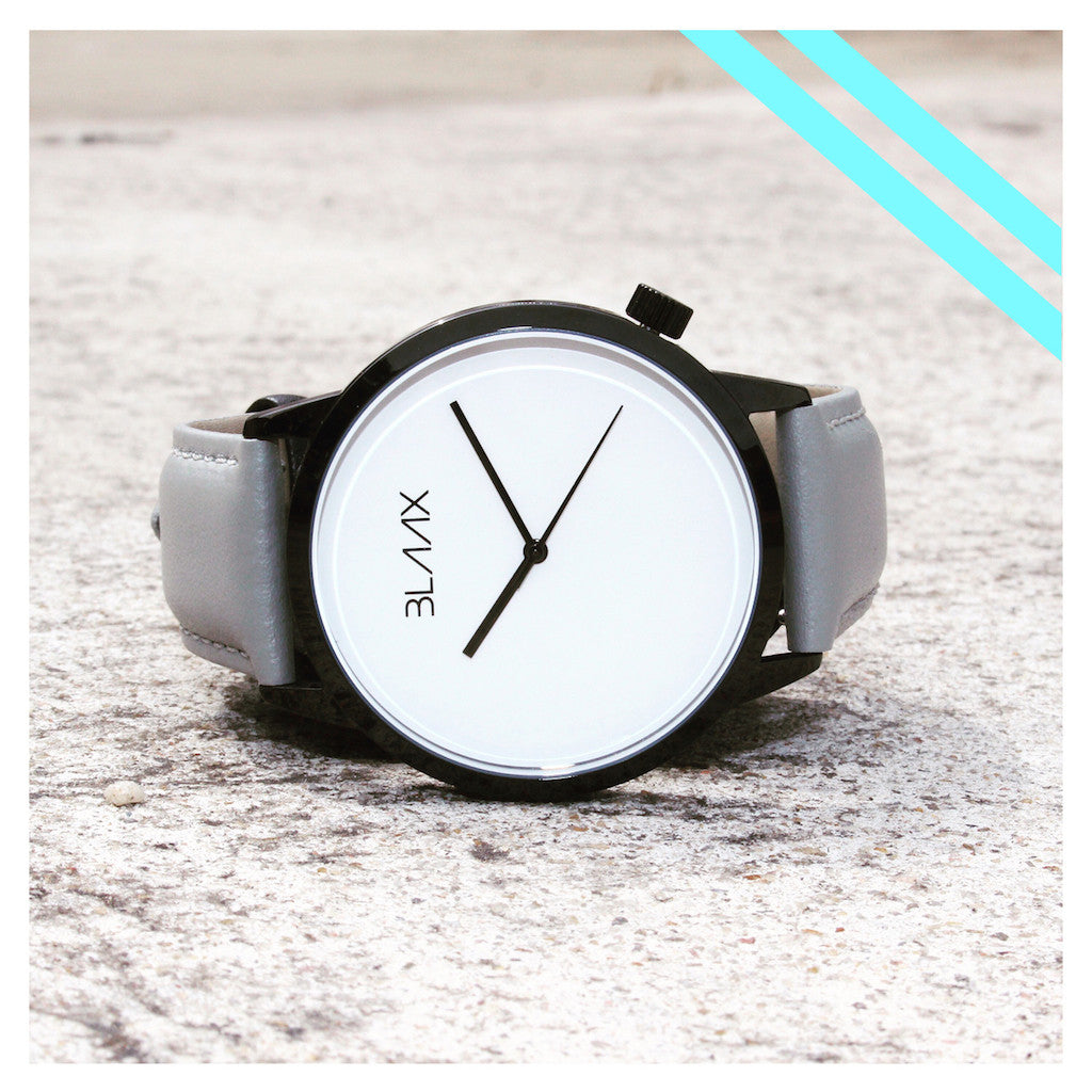 Gray Leather Watch for Men and Women - Asher by BLAAX on Jetset Times SHOP