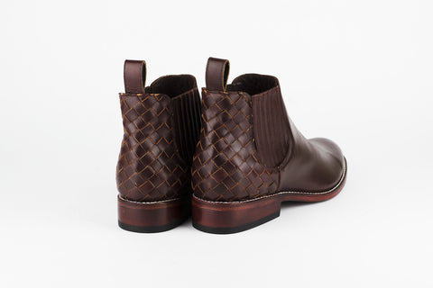 Men's Burgundy Leather Ankle Boots - AMECA