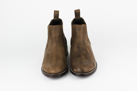 Men's Brown Leather Ankle Boots - AMECA
