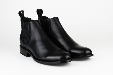 Men's Black Leather Ankle Boots - AMECA