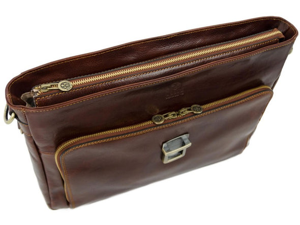 Brown Full Grain Leather Briefcase Laptop Bag - In Cold Blood