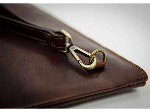 Brown Leather Men's Clutch Purse - The Brothers Karamazov