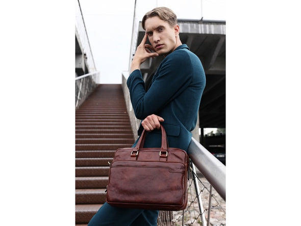 Leather Briefcase Laptop Bag - Orlando