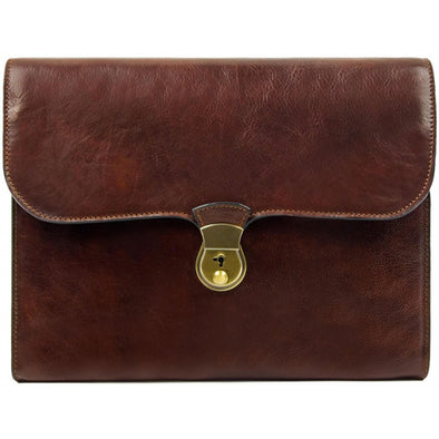 Brown Leather Portfolio Document Folder - Age of Innocence
