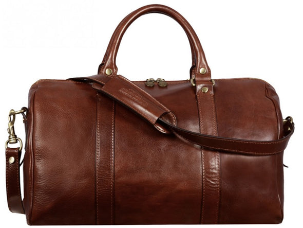 Brown Small Leather Overnight Bag - The Ambassadors