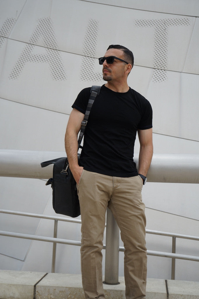 Jerry wears Merino Wool Black T-Shirt - Hudson for Men and Women by One For The Road on Jetset Times SHOP