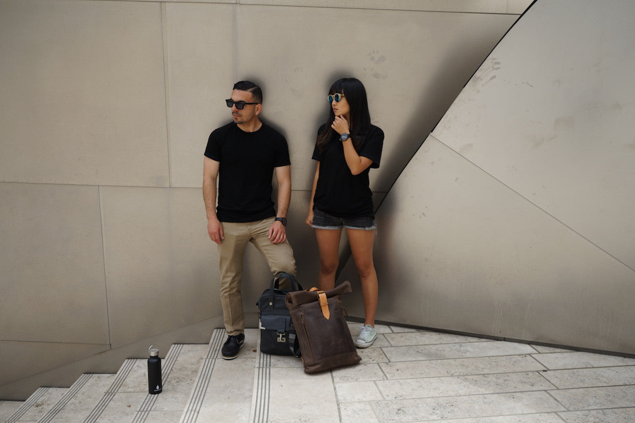 Jerry and Nadia wear Merino Wool Black T-Shirt - Hudson for Men and Women by One For The Road on Jetset Times SHOP