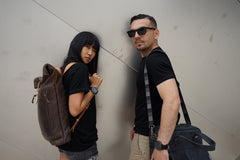 Nadia and Jerry wear Merino Wool Black T-Shirt - Hudson for Men and Women by One For The Road on Jetset Times SHOP