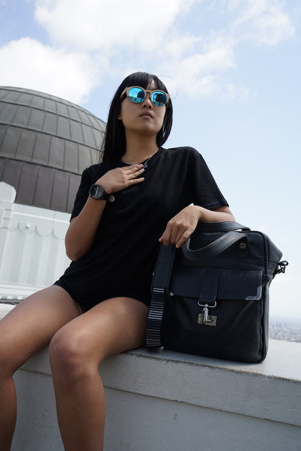 Nadia wears Merino Wool Black T-Shirt - Hudson for Men and Women by One For The Road on Jetset Times SHOP