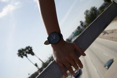Nadia wears Black Leather Watch for Men and Women - Shadow Black by BLAAX on Jetset Times SHOP