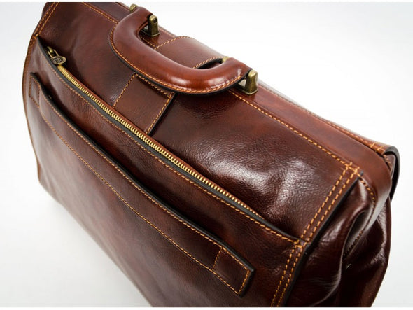 Brown Large Leather Doctor Bag - Mrs. Dalloway