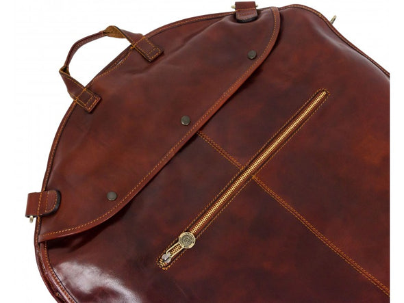 Brown Leather Garment Bag - Travels with Charley