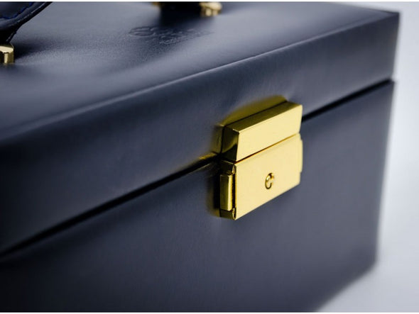 Navy Blue Leather Jewelry Box - Beloved