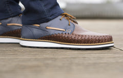 Men's Casual Leather Shoes - Puerto Vallarta in Blue and Brown by TapatÌ_a on Jetset Times SHOP