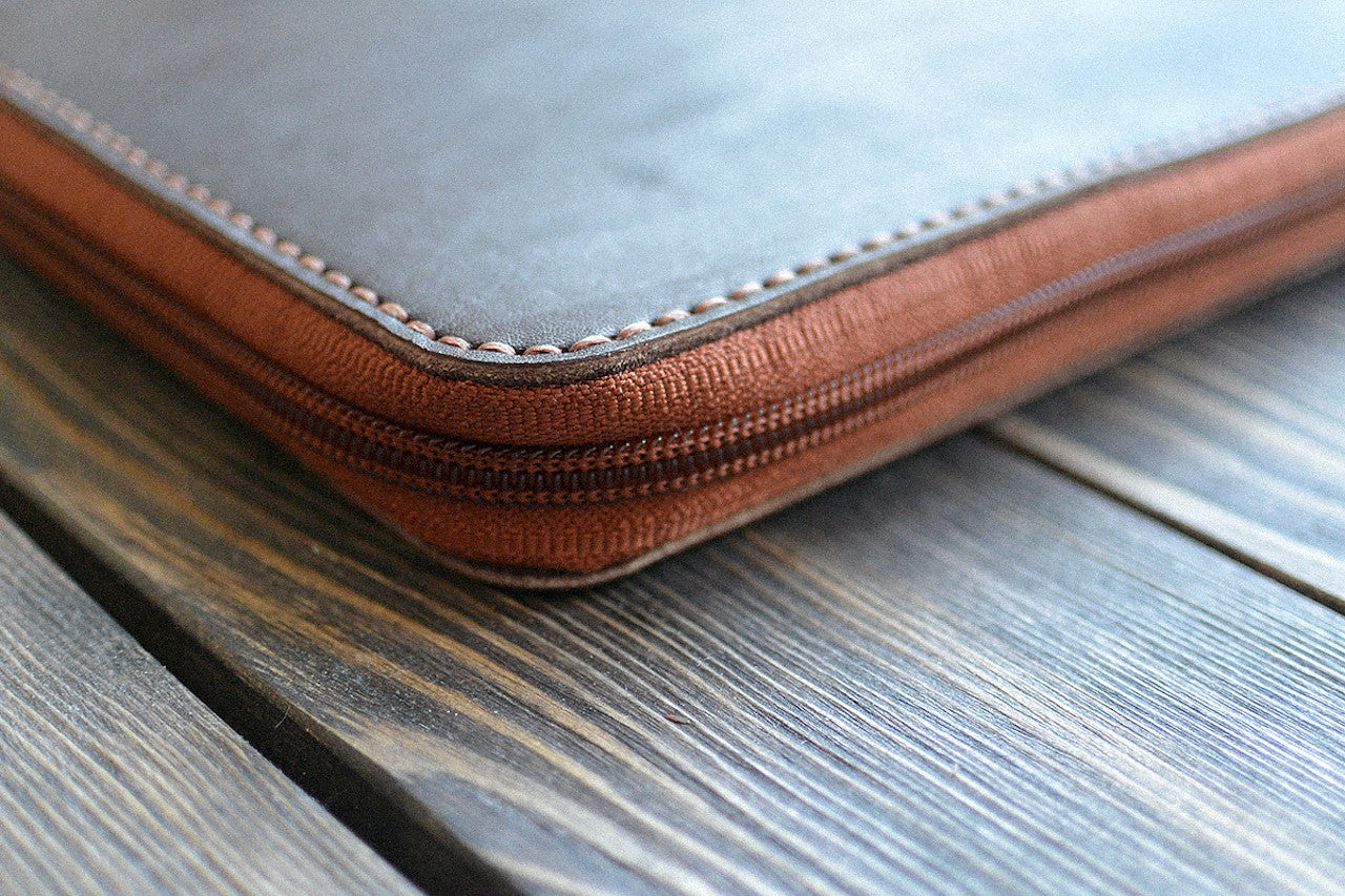 iPad Mini Leather Zip Folio in Dark Brown - Handmade by INSIDE on Jetset Times SHOP