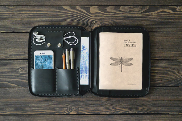 iPad Mini Leather Zip Folio in Black - Handmade by INSIDE on Jetset Times SHOP