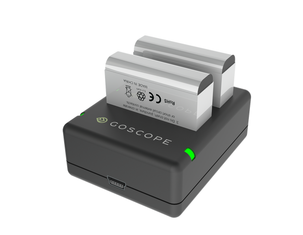 GoScope® Dual Battery Charger for GoPro® HERO4 - Includes Free Battery