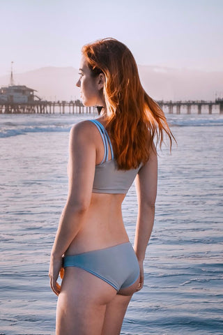 Tiffany in Reversible Bikini Bottom (Gray/Sky)