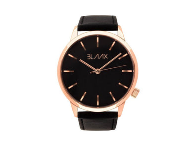 Black Leather Watch for Men and Women - Midnight Rose by BLAAX on Jetset Times SHOP