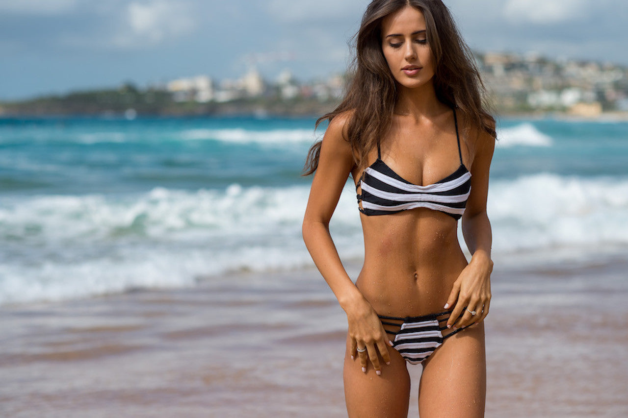 Women's Black/White Bikini Bottom - Mykonos by The Hessian Collection on Jetset Times SHOP