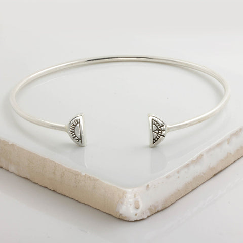Women's Sun & Moon Bangle - Solid Silver