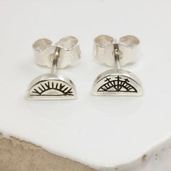 Women's Half Circle Stud Earrings - Sami Sun & Moon in Silver by No 13 on Jetset Times SHOP