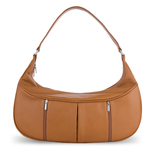Women's Brown Leather Camera Bag - Cologne