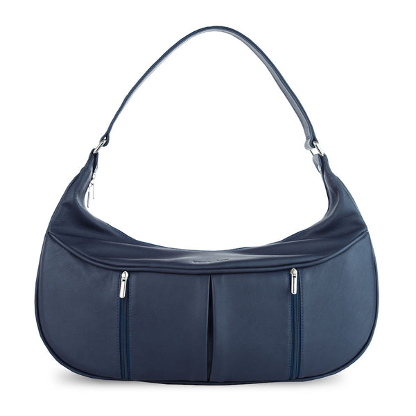 Women's Blue Leather Camera Bag - Cologne