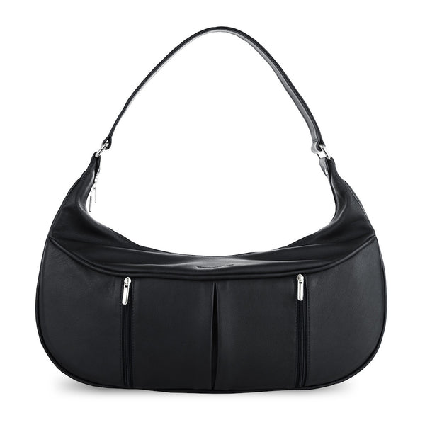 Women's Black Leather Camera Bag - Cologne