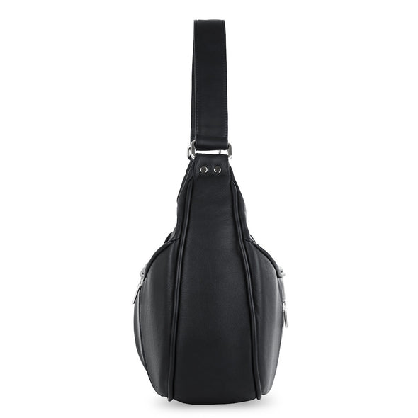 Women's Black Leather Camera Bag - Cologne by POMPIDOO on Jetset Times SHOP